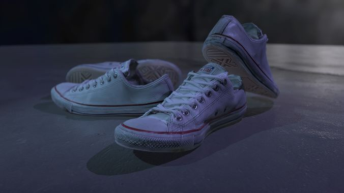 e0dae86290 white all star shoes hd photoscanned pbr 4k with lods 3d model low-poly obj