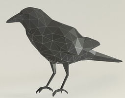 low poly crow 3D printable model