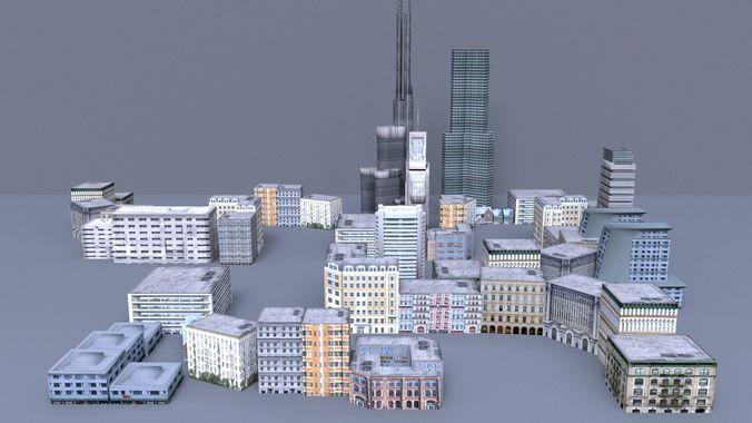 low poly city 3d model low-poly obj mtl 3ds fbx c4d 1