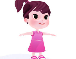 Cartoon girl 3D model
