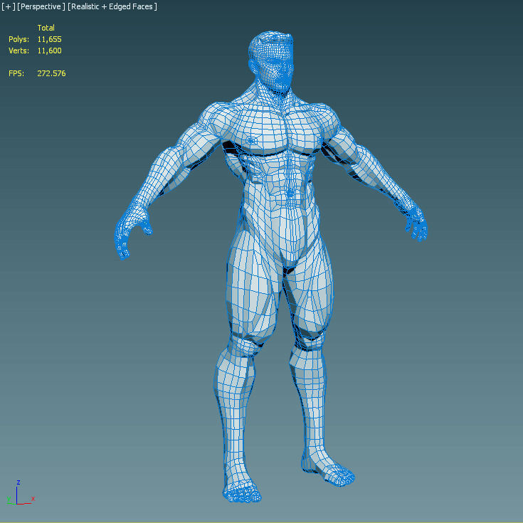3D Model Realistic Male Body VR / AR / Low-poly MAX OBJ
