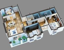 3D Model Cutaway Residential Building