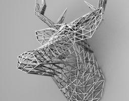 3d print model grid deer head