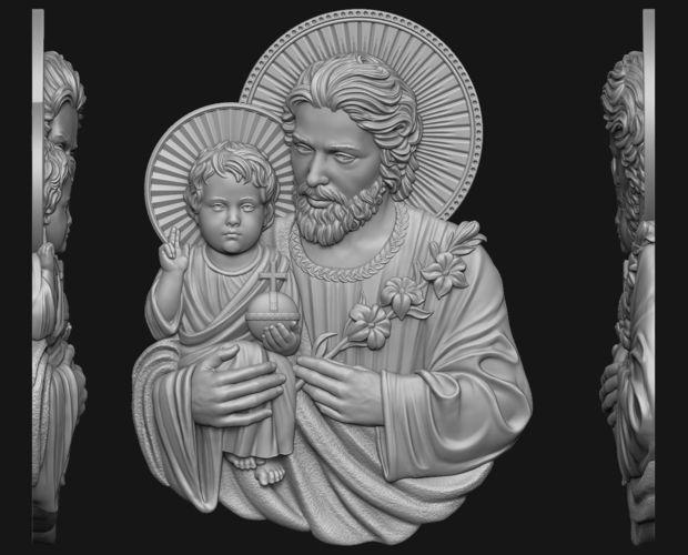 saint joseph with baby jesus 3d model obj mtl stl 1