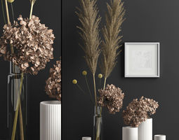 3D model Decor with dry flowers