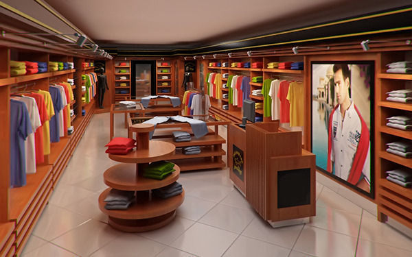 Clothing store interior for men and women render ready 3d - Men s clothing store interior design ideas ...