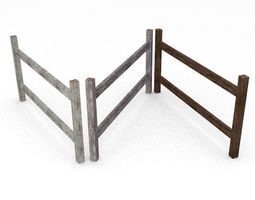 3D model Wooden fence set
