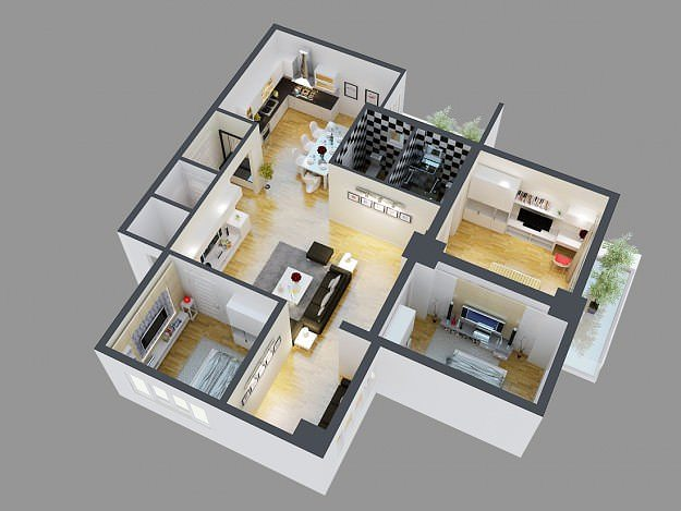 3d model detailed house cutaway view 4 cgtrader for Model bedroom interior design