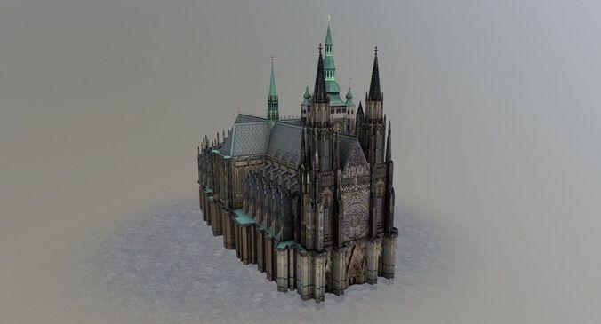 prague vitus cathedral 3d model low-poly max obj mtl 3ds fbx 1