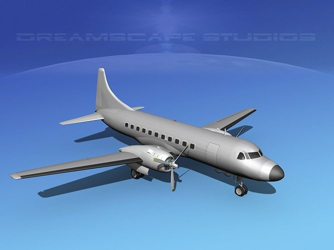 convair cv-340 bare metal 3d model max obj 3ds lwo lw lws dxf stl 1