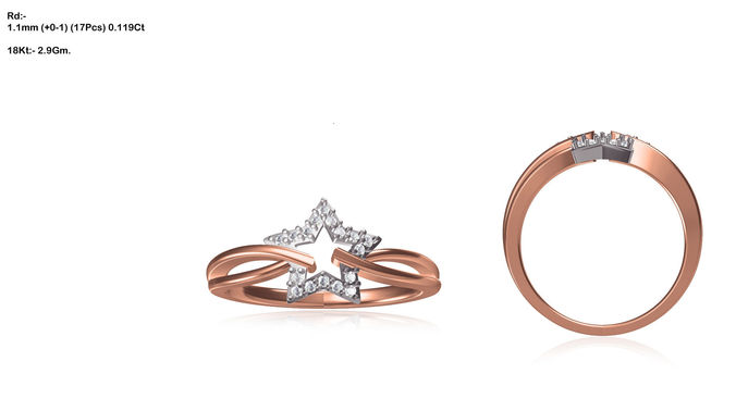 Star Shaped Rose Gold Ring With Diamonds 1 3d Model 3d Printable