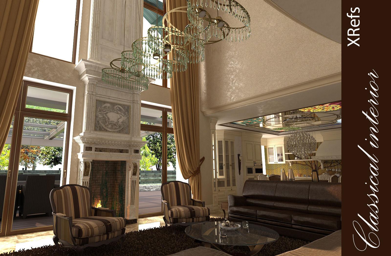... Classic Interior House 3d Model Max 8 ...