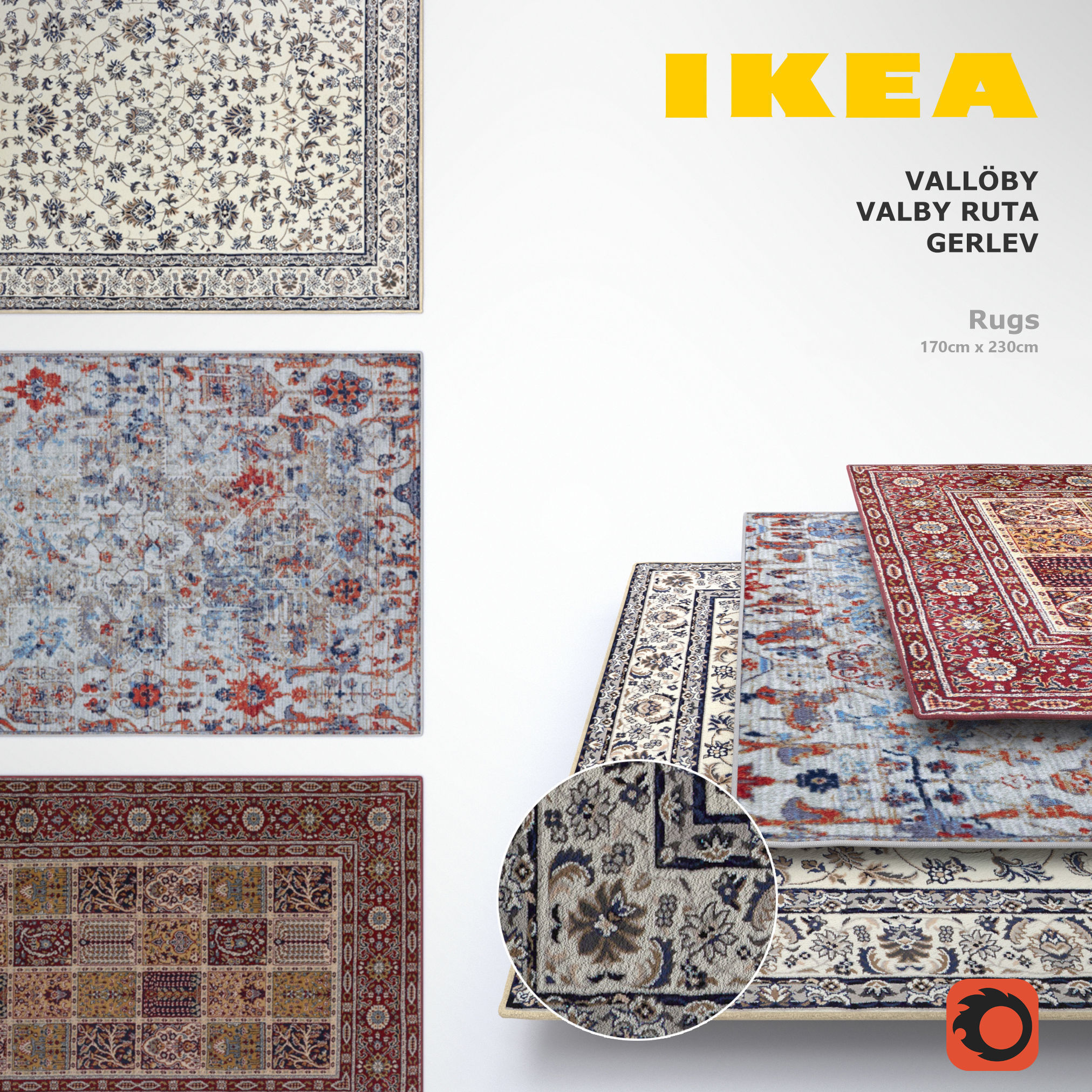 Ikea Rugs Set Model Max Obj Mtl 1