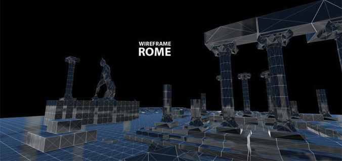 wireframe - rome 3d model low-poly fbx blend unitypackage prefab mat 1