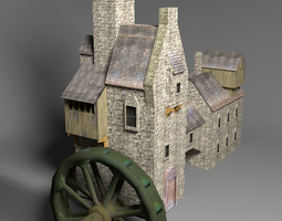 3D asset Water mill low poly