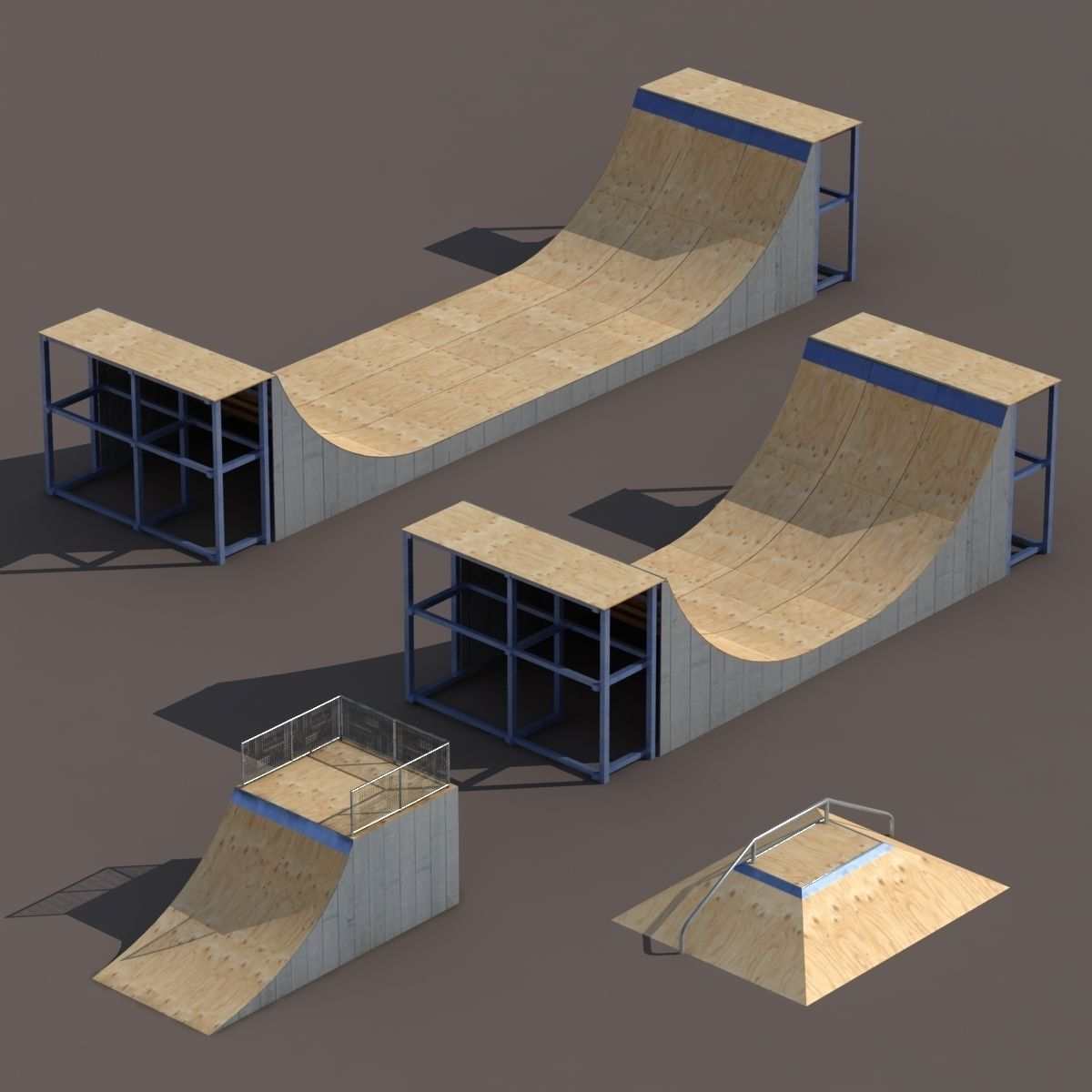 4 Skate park element Low Poly | 3D model