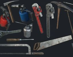 Old Work Tools Collection PBR 3D model