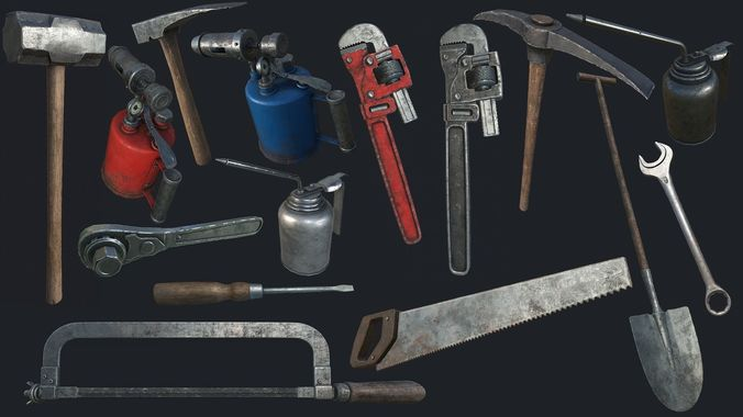 old work tools collection pbr 3d model low-poly max obj mtl 3ds fbx dae tga 1