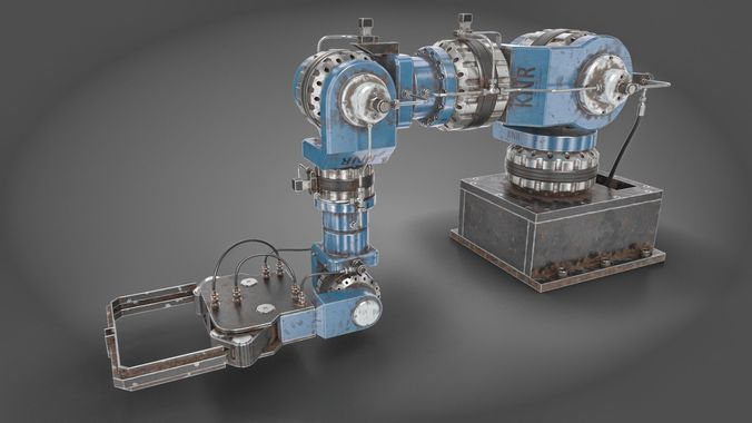hydra mp robotic arm manipulator 3d model rigged animated max obj mtl fbx 1