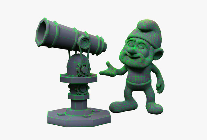 realtime papa smurf with telescope toy set 3d