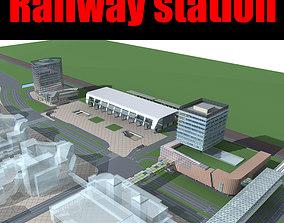 3D Railway station square