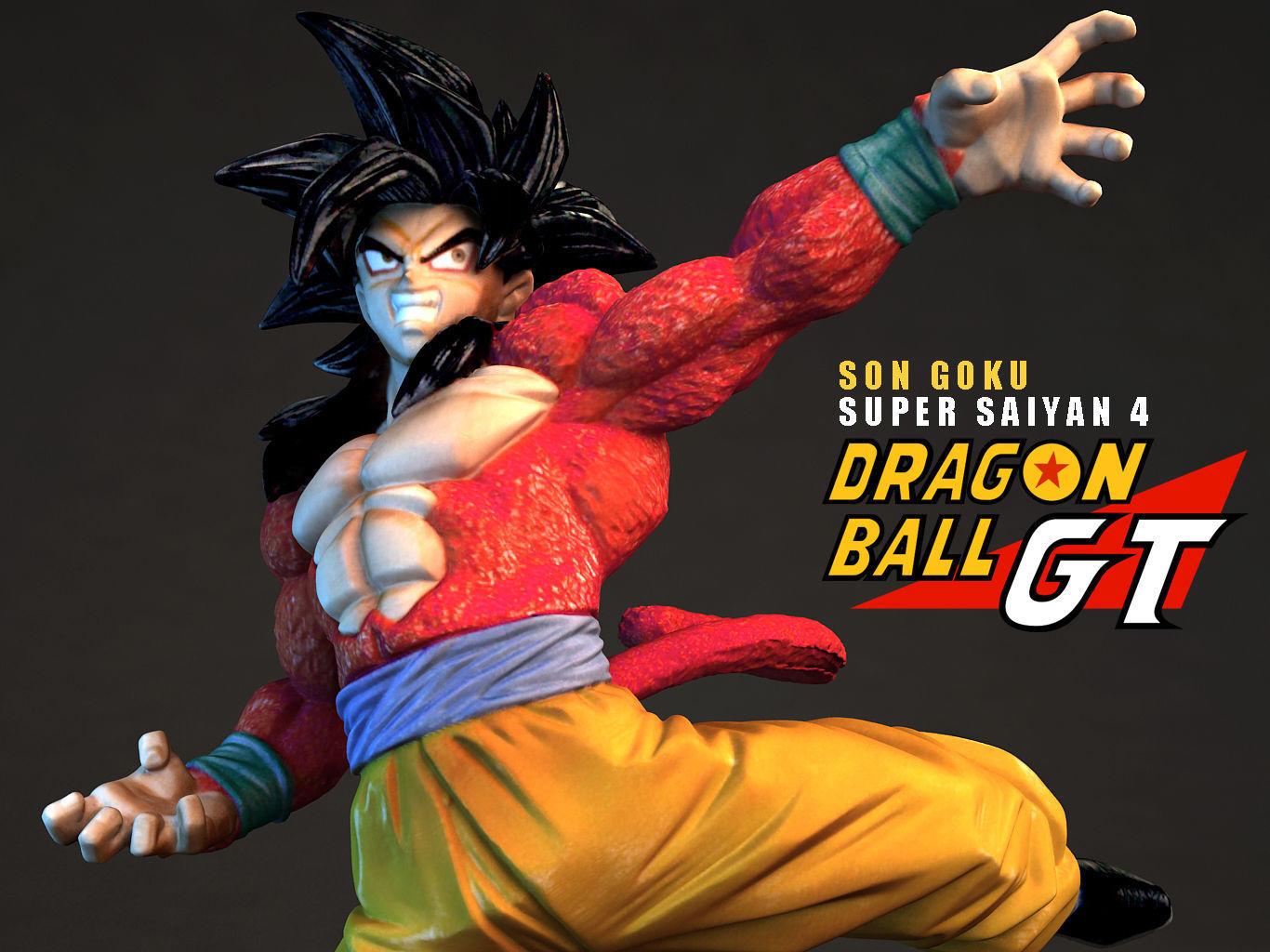 Super Saiyan 4 Goku 3d Model Obj Fbx Mtl 2