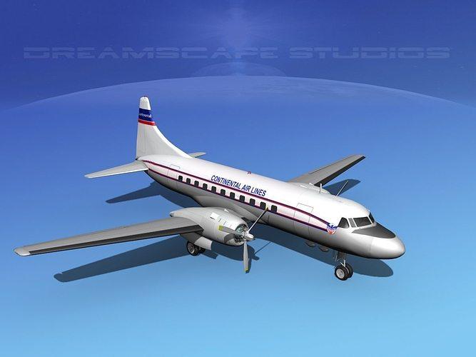 convair cv-340 continental 3d model rigged max obj 3ds lwo lw lws dxf stl 1