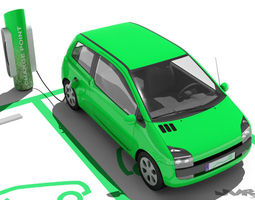 electric car and charging post 3d