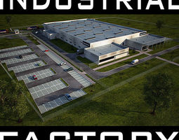 3d model industrial building full scene render ready