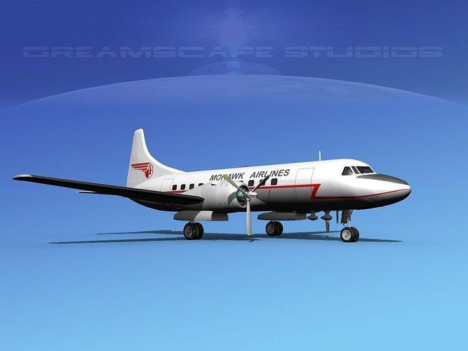 convair cv-340 mohawk airlines 3d model max obj mtl 3ds lwo lw lws dxf stl 1