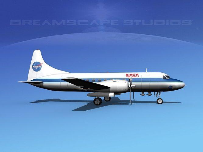 convair cv-340 nasa 3d model max obj mtl 3ds lwo lw lws dxf stl 1