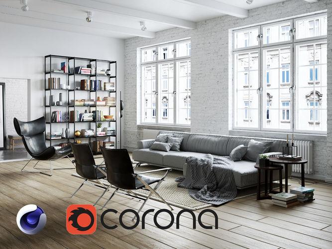 living room interior scene for cinema 4d and corona renderer 3d model c4d 1