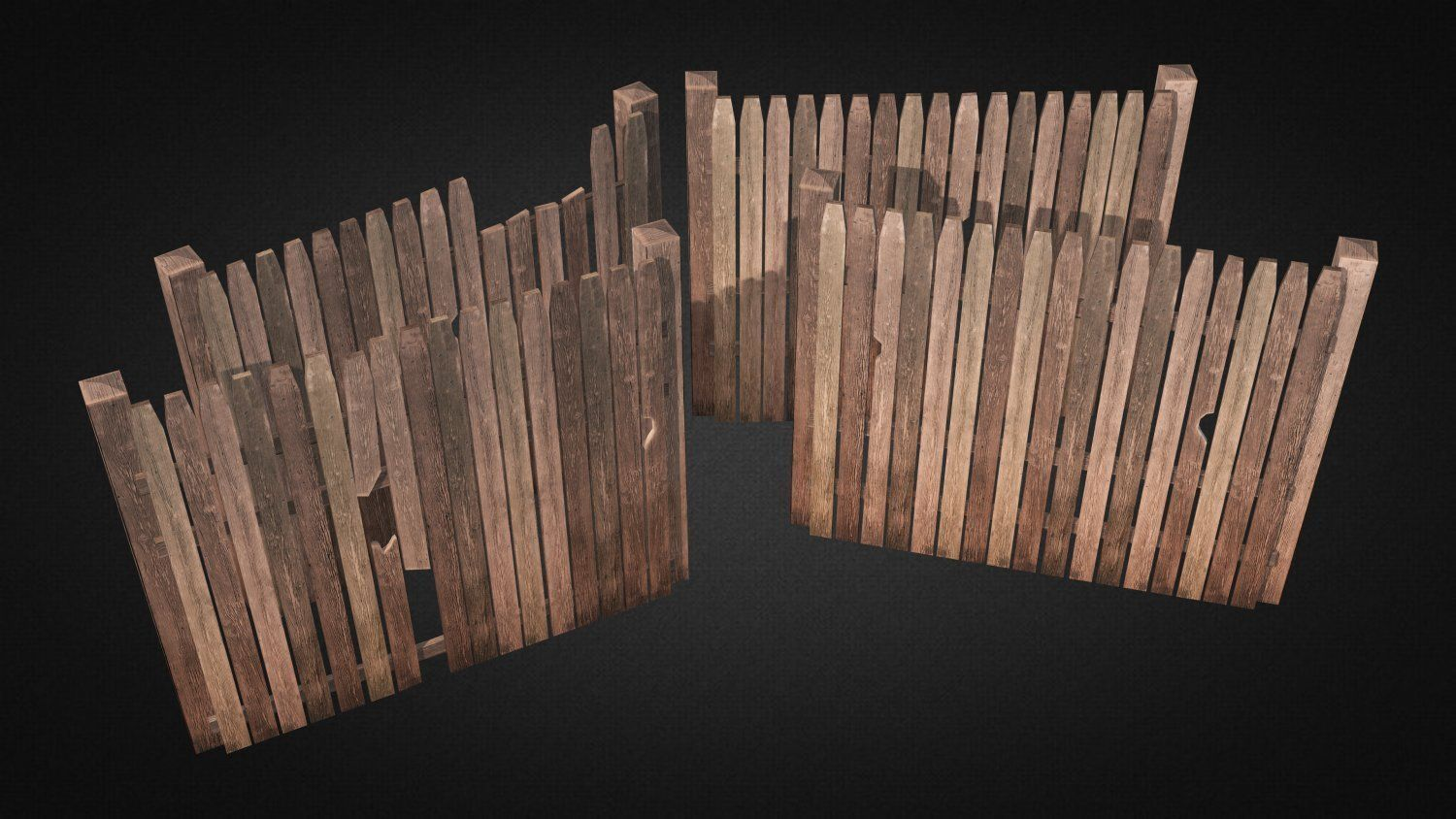 3d model ultimate wood fence kit vr ar low poly max for 3d fence