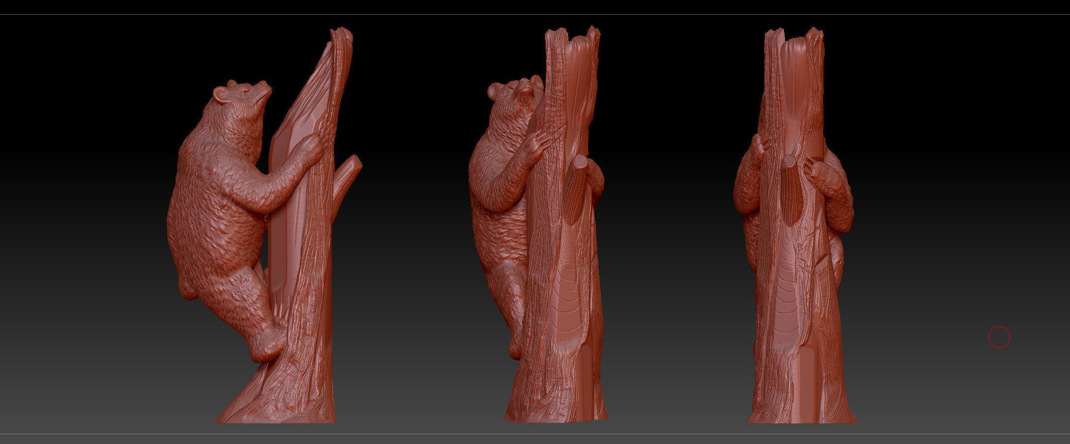 3D printable model bear on tree   CGTrader