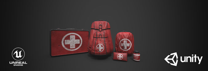 medkit pack 3d model low-poly obj mtl 3ds fbx stl dae x3d 1