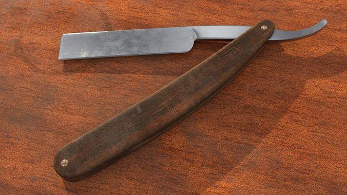 old straight razor 3d model low-poly obj mtl 3ds fbx stl 1