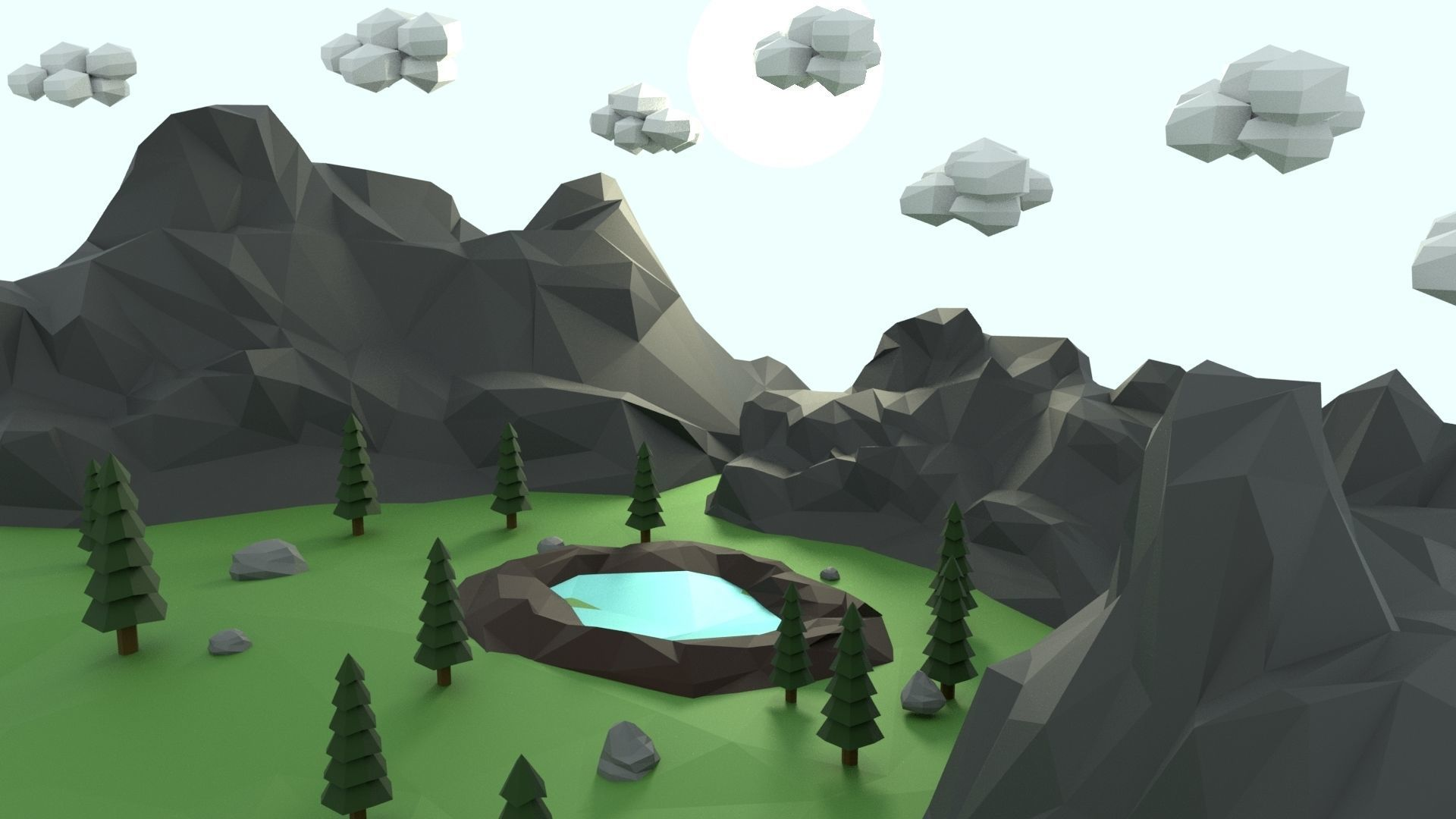 Low Poly Mountain with Crater Lake Scene