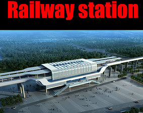 3D Railway station railway square