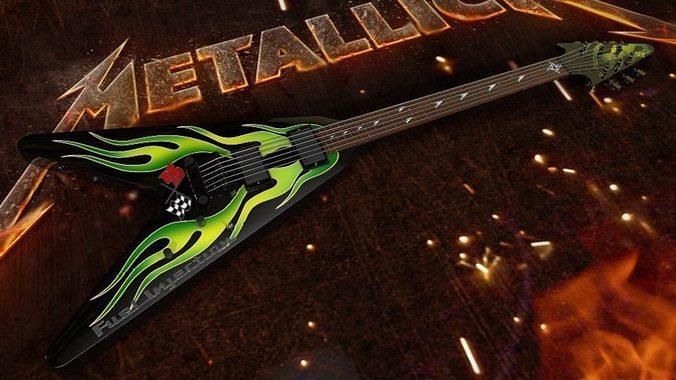 metallica - james hetfield esp jh-1 green flame v guitar 3d model obj mtl 3ds c4d dxf 1