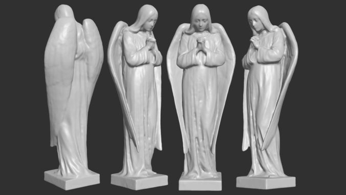 angel figurine - 3d printable 3d model max obj mtl fbx stl 1