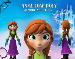 low-poly Anna 3D models low poly