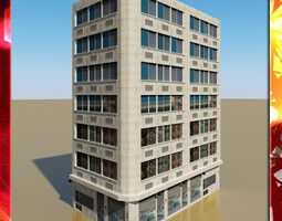 3d model realtime photorealistic low poly office building 10