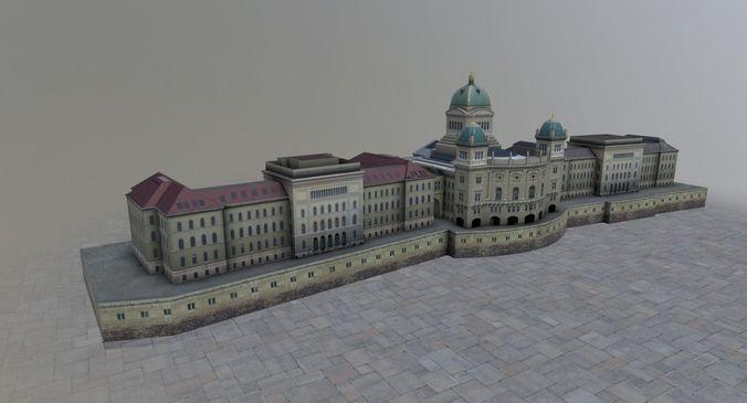 bern palais federal 3d model low-poly max obj mtl 3ds fbx 1