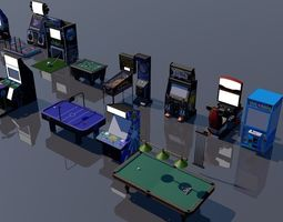 pack of 15 arcade game 3d models game-ready