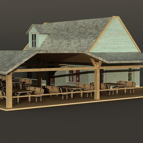 ... Bar House Wooden 3d Model Low Poly Max Obj 3ds Mtl 4 ...