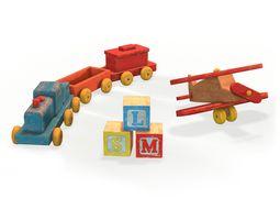 Old Wooden Toys Pack 3D asset