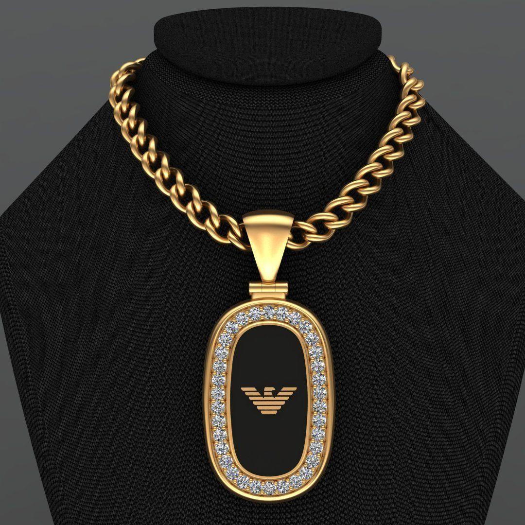 Emporio Armani Enamel Diamond Gold Pendant