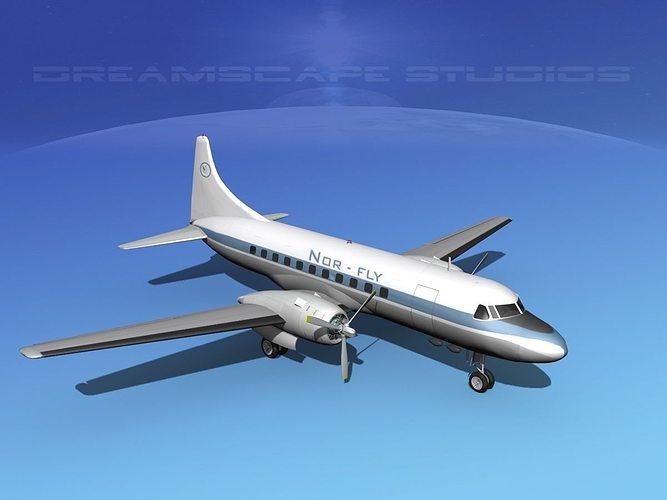 convair cv-340 norfly 3d model max obj mtl 3ds lwo lw lws dxf stl 1