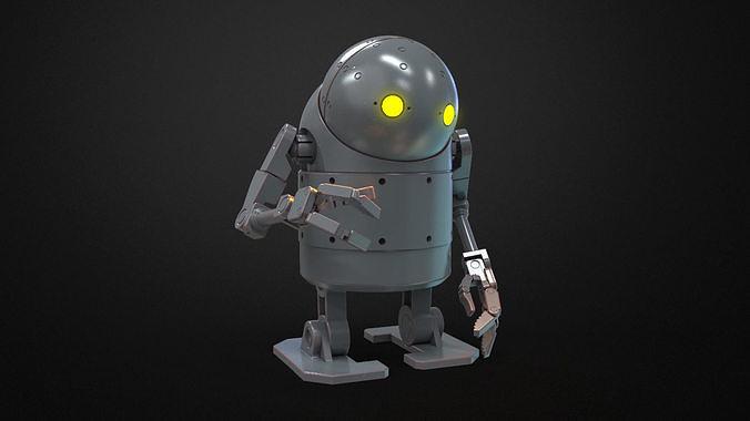 nier automata - small stubby robot toy 3d model max obj mtl 3ds fbx stl 3mf 1