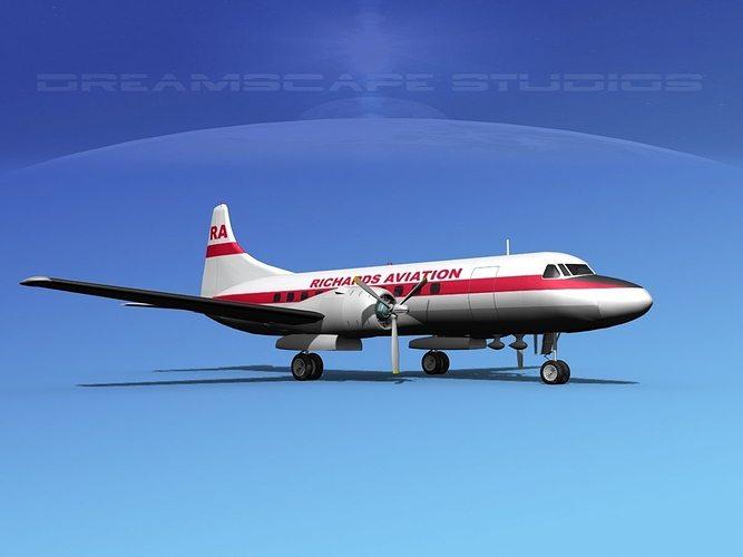 convair cv-340 richards aviation 3d model max obj mtl 3ds lwo lw lws dxf stl 1